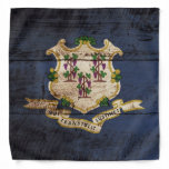 Connecticut State Flag on Old Wood Grain Bandana