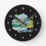zhuhai city vacation graphic blue.png round clock