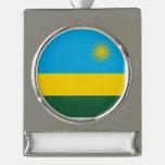 Rwanda Flag Silver Plated Banner Ornament