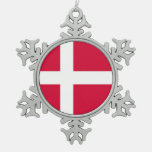 Denmark country flag symbol long snowflake pewter christmas ornament