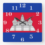 Flag of Cambodia Square Wall Clock