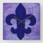 Fleur de Lys wall clock, cobalt blue Quebec Day Square Wall Clock