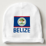 Belize Flag Customizable Blue Text Baby Beanie