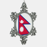 Nepal Flag Snowflake Pewter Christmas Ornament