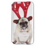Embarrassed looking Pug wearing Reindeer Antlers iPhone 6/6s Wallet Case