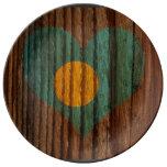 Palau Flag Heart on Wood theme Plate