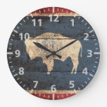 Wyoming State Flag on Old Wood Grain Large Clock