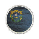Nevada State Flag on Old Wood Grain Pin