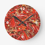Hot Peppers Round Clock