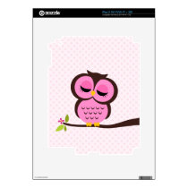Cute Pink Owl Decals For iPad 2