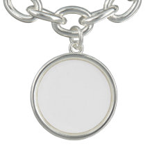 Round Charm Bracelet, Silver Plated