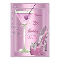 """21st Birthday Party Pink Martini High Heel Shoes 5.25"""" Square Invitation Card"""
