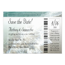 Ticket Save Date, Beach Destination Wedding Cruise Personalized Announcement