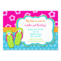 Flip Flop Luau Pool Party Birthday Invitaitons Announcement