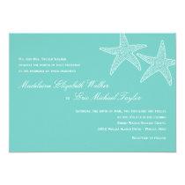 Starfish Wedding Invitation - Blue Personalized Announcement