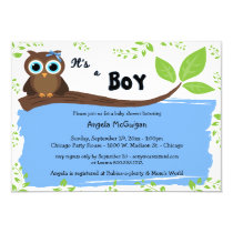Blue Whimsical Owl Baby Shower Invite