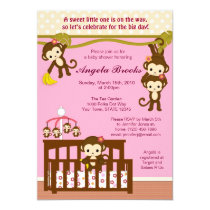 """Melanie Monkey Baby Shower Invitations 5"""" X 7"""" Invitation Card"""