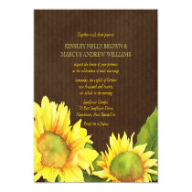 Yellow Watercolor Sunflowers Floral Fall Wedding Custom Announcements