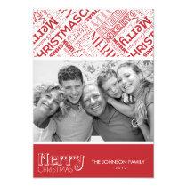 Merry Christmas Text Design 5x7 Flat Card Announcements