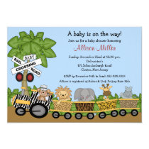 Jungle Safari Train Neutral Baby Shower Invitation