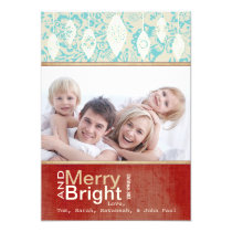Aqua Red Retro Merry and Bright Family Photo Card Personalized Invitation