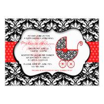 "Chic Red Polka Dot Damask Baby Shower Invite 5"" X 7"" Invitation Card"