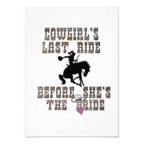 Cowgirl's Last Ride Before She's The Bride Personalized Invitation