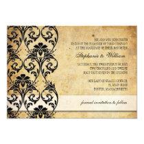 Black Vintage Floral Swirl Wedding Invitation
