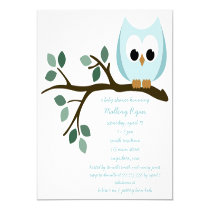 Blue Owl Baby Shower Invitation