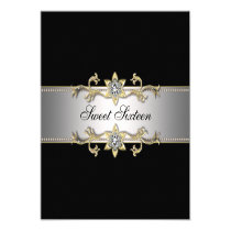 Black and Gold Sweet Sixteen Party Custom Invitations