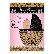 Baby Shower Cute Baby Girl Pink Leopard Invitation