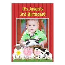 Birthday Photo Farm Flat Invitation
