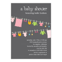 Chic Clothesline Baby Shower Invitation (Girl) Personalized Invites