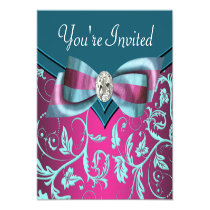Fuchsia Hot Pink Teal Blue All Occasion Party Custom Invitation
