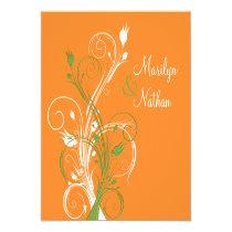 """Orange Green White Floral Sq. Wedding Invitation 5.25"""" Square Invitation Card"""