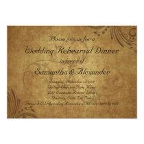 Vintage Teastain Swirl Wedding Rehearsal Dinner Announcement