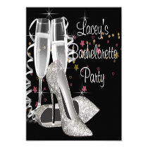"Black Champagne High Heels Bachelorette Party 5.25"" Square Invitation Card"
