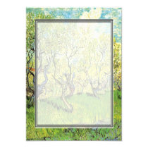 "blank invitation. van Gogh Orchard in Blossom 5.25"" Square Invitation Card"