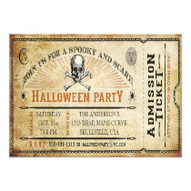"Vintage Skull and Bones Halloween Party Ticket 4"" X 9.25"" Invitation Card"