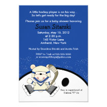 Polar Bear Hockey Sports 5x7 Baby Shower Invite