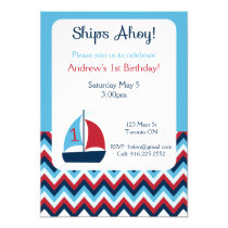 "Nautical First Birthday Invitation 5"" X 7"" Invitation Card"