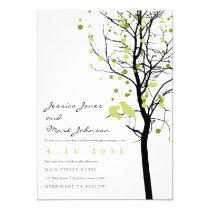"""Love Birds in Polka Dot Tree 5"""" X 7"""" Invitation Card"""