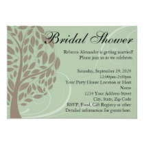 Recycled Green Eco Tree Bridal Shower Invitations