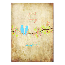 Vintage love birds/colorful blossoms custom invite