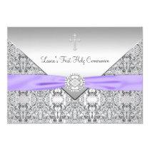Lace Cross Girls Purple First Communion Invitations