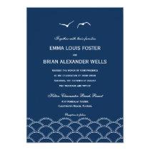 "Love Doves Wedding Invitations - Navy 5"" X 7"" Invitation Card"