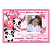 "Panda birthday invitation pink black (photo) 5"" x 7"" invitation card"