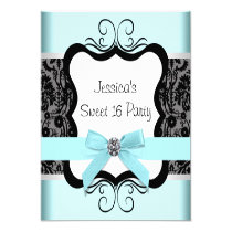 Black Damask Teal Black Sweet 16 Birthday Party Announcement