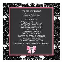 "Black Damask Pink Bow Princess Baby Shower 5.25"" Square Invitation Card"