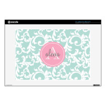 Mint and Pink Monogrammed Damask Print Laptop Decal
